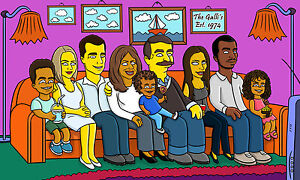 Simpsons Group Portrait On A Sofa Yellow Character Custom Made From Your Photo
