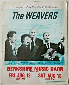 vtg (1960?) THE WEAVERS concert poster - pete seeger folk berkshire music barn ░
