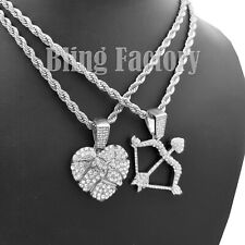 "w/ 24"" Rope Chain Hip Hop Necklace Iced Cupid'S Bow And Arrow & Heart Pendant"