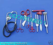 10 Piece Red Medical Kit Diagnostic Emt Nursing Surgical Ems Student Paramedic
