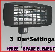 Infrared Quartz Heater Wall Mounting 2000W 3 Settings WORKSHOP GARAGE