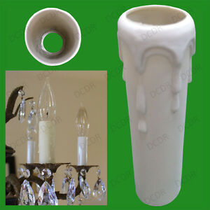 50x Drip Candle Wax Effect Chandelier Light Bulb Covers Tube Sleeve 80mm x 23mm