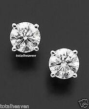 NEW 4 Carat tw 8mm Solid 14K White Gold Gold AAA D-Flawless Sparkling CZ Studs
