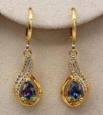 18K Gold Filled - MYSTICAL Topaz 2-Layer Zircon Hollow Waterdrop Gems Earrings