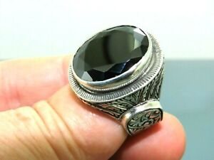 Turkish Handmade Jewelry 925 Sterling Silver Onyx Stone Men Ring Sz 10