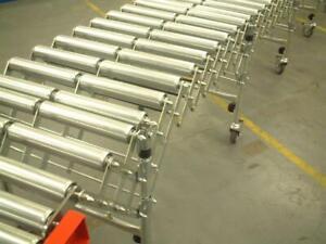 Flexible Roller Conveyor, 6 M long extended x 600mm wide 50mm BZP Steel Rollers