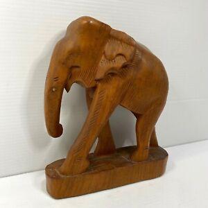 Hand Carved Wooden Elephant Statue Vintage Figure 22cm Tall Medium