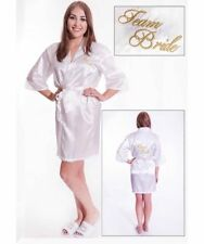 White TEAM BRIDE Satin Bathrobe Dressing Gown Kimono GOLD Embroidery Bridesmaid