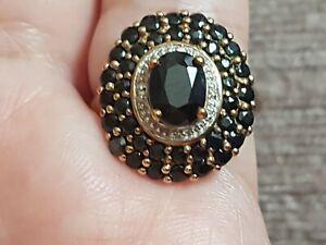 9k Gold Onyx Diamond Ring Size N  4.5g