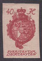 Liechtenstein 1920 - 40H Carmine Imperf - SG26 - Mint Hinged (E23F)