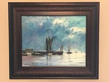 "Nino Pippa Oil Painting Abstract Sailboat ""Spritsail Barges on the Thames""Listed"