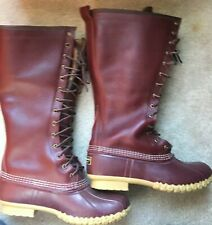 """LL BEAN 16"""" SNOW BOOTS SHEARLING LINED DUCK CRANBERRY MAROON RED BURGUNDY SZ 10"""