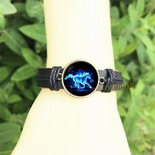 Racing horse Black Bangle 20 mm Glass Cabochon Leather Charm Bracelet