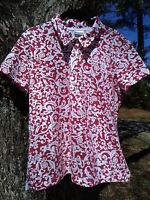 Women Chico's Short-Sleeve Collared Red/White Design Blouse Sz 2 Cotton/Spandex