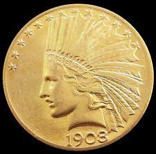 1908 GOLD UNITED STATES $10 DOLLAR INDIAN HEAD EAGLE COIN AU - BU