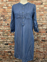 Spense Women's Size S Blue Denim Half Button Front 3/4 Sleeve Shirt Dress #16C48