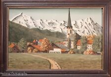 Beautiful Oil Painting of Wust Germany, Dated 1949 Mountains w/ City Below, NICE