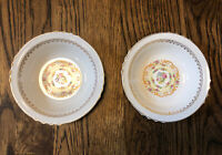 (2) French Saxon 22KT Dusty Rose China Gold Band & Floral Berry Bowls