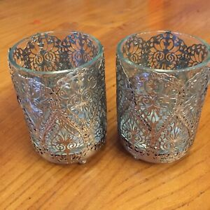 Vintage Filligree Metal Set Of Two Tea Light Holders With Glass Inserts