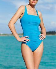 Calvin Klein Swim One Piece Sz 12 Cerulean Blue Pleated Tank Swimsuit CG5MS155