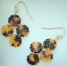FAUX TORTOISE TURTLE SHELL GOLD PIERCED EARRINGS FOUR FLORAL LACY DANGLING DISCS