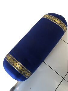 Yogamatters Oval Bolster Blue With Gold Borders