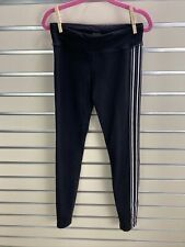 ATHLETA GIRL Size L/12 Black /White Stripes Activewear Leggings