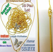 Thai Baht 23k 24k Yellow Goldplated Brass Chain Necklace Jewelry 10 pcs Set 18""