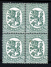 FINLAND 1929 40p. Green Type II  Perf 14½x15 A BLOCK OF FOUR SG 199ab MNH