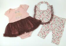 GIRLS NICOLE MILLER PINK FLORAL TULLE ROMPER & PANTS OUTFIT & BIB SIZE 3-6 MONTH