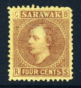 SARAWAK 1875 Sir James Brooke 4 Cents Red-Brown on Yellow SG 4 MNG