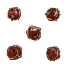 Transparent Red Patterned Lampwork Glass Beads 12mm Pack of 5 (N76/3)