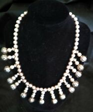 Sterling Silver Necklace Electro formed Large Flower Beaded, flare neck.