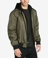 Guess Men's Bomber Jacket with Removable Hooded Inset Olive UK Size XL