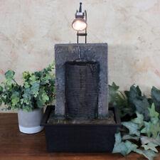 Sunnydaze Ancient Garden Wall Tabletop Fountain with LED Spotlight - 16-Inch