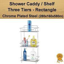 Chrome Plated Three Tiers Shower Caddy Organizer Rectangle Rack Shelf Basket