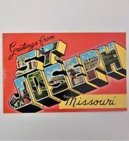 Vintage Greetings From St. Joseph Missouri Postcard Pony Express Jesse James