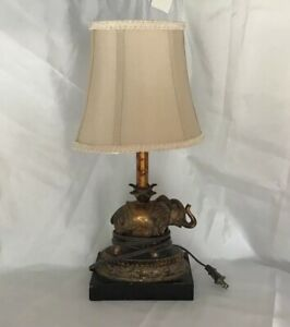 Unique Vintage INDIAN Elephant Lamp Luminaire Accent Portable Craved Wood OOAK