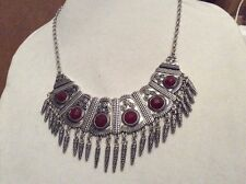$79 Lucky  Brand Silver-Tone Red Stone Bib Necklace LK11a