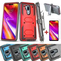 Shockproof Armor Clip Holster Stand Case+Tempered Glass For LG G7/G8/V60 ThinQ