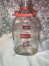 Sealtest Ohio Glass Milk Juice Store Bottle 1/2 Gallon Red Plastic Handle Vintag