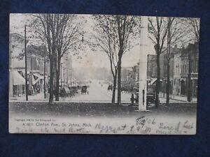 1906 St Johns Michigan Clinton Ave Street Scene Postcard
