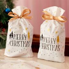 10pcs Christmas Gift Bags Candy Cookies Packaging Xmas Plastic Drawstring Bag