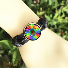 Colorful Rainbow Flower Gay Pride Black Glass leather & chord Bracelet charm-837
