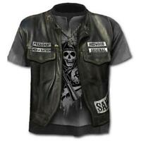 Men Fashion Short Sleeve Crew Neck Funny Skull 3D Print Casual Tee Tops T-S Y4Q9