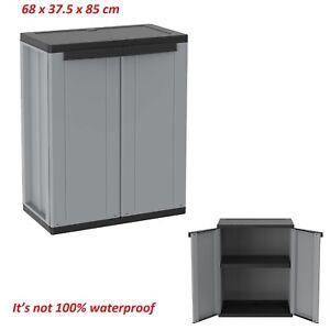 Garden Storage Cabinet Storage Shelves Unit Cupboard Outdoor Plastic Utility Box