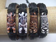 Hawaiian Tribal Tiki Man Leather Bracelet Luau Hula Surf Girl Boy Friendship