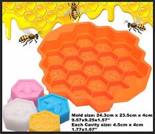 19 Cell Cavity Honey Comb Soap Silicone Mold Beeswax Mould  Bees Chocolate