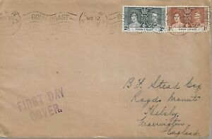 GOLD COAST KING GEORGE VI CORONATION 1d AND 2d ON MAY 12 37 FDC REF 2715