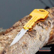 "4.9"" Pocket Knife Key Charm Pendant Self-Defense GOLD Mini Folding Razor BLADE"